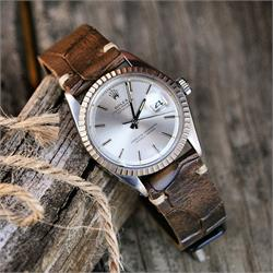 BandRBands brown vintage croco watch band strap on a vintage Rolex Datejust 1603