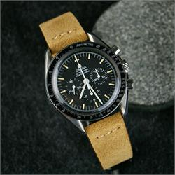 BandRBands 20mm Beige Italian Vintage Suede Watch Strap Band on the Omega Speedmaster moonwatch