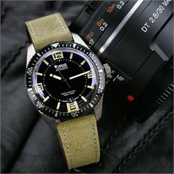 20mm Olive Classic Suede Strap On the Oris 65 Dive Watch BandRBands