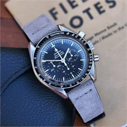 BandRBands 20mm Gray Vintage Suede Watch Strap Band on the Omega Speedmaster Moonwatch