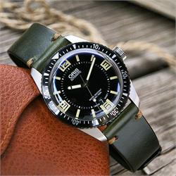 20mm Green Horween Vintage Leather Watch Strap Band on a Oris Diver 65 Watch BandRBands