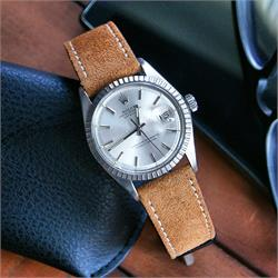 BandRBands 20mm Camel Italian Suede Watch Strap Band on a Vintage Rolex Date Just 1603