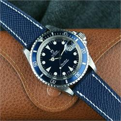 BandRBands 20mm Navy Hermes Watch Strap Band on a Tudor Submariner watch