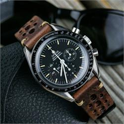 comm Brown Vintage Racing Watch Strap Band on a Omega Speedmaster watch BandrBands
