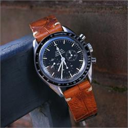 BandrBands 20mm amber Italian Leather Vintage Croco Watch Band Strap on a Omega Speedmaster moonwatch