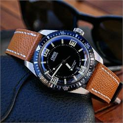 Tan Hermes Style Strap on the Oris 65 Dive Watch BandRBands
