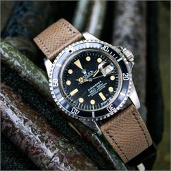BandRBands 20mm Hermes style Watch Strap Band made from Taupe French leathers on a Rolex Submariner 1680