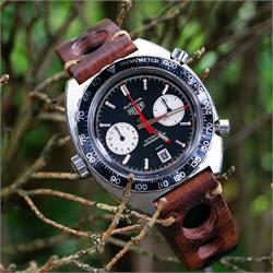 BandRBands Chestnut Italian Vintage Rally Watch Strap Rallye Band on a Heuer Autavia