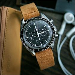 BandRBands 18mm 20mm 22mm Camel Vintage Suede Watch Band Strap on the Omega Speedmaster moonwatch