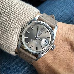 B & R Bands 20mm Taupe Textured Calf Leather Watch Strap Band on a stunning Vintage Rolex Date Just Watch