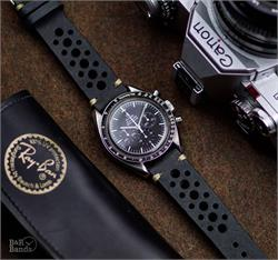 20mm 22mm Black Vintage Leather Watch Band Strap with ecru stitching on an Vintage Omega Speedmaster Watch
