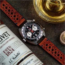 B & R Bands 20mm Cognac Classic Vintage Racing Watch Strap Band on a vintage Heuer Autavia viceroy
