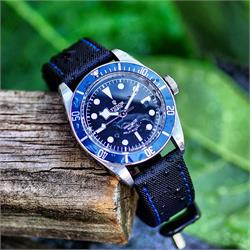 20mm 22mm 24mm Black Waterproof Sailcloth Watch Band Strap Blue Stitch Tudor Black Bay Blue Dive Watch