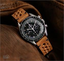 B & R Bands 20mm Classic Vintage Racing Rally Watch Band Strap Oak Italian Vintage Leather Omega Speedmaster Watch