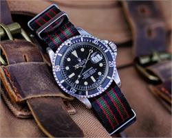 B & R Bands 20mm Original James Bond Nylon Seat Belt Weave Nato Watch Strap Bands on a vintage Rolex Submariner 1680 watch