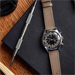 18mm 19mm 20mm Textured Calf Leather Watch Strap Band on a vintage Chronograph watch made from beautiful French leather