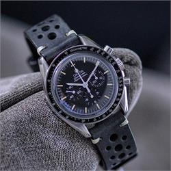 20mm Black Vintage Racing Watch strap Band on a Omega speedmaster professional watch with ecru minimal stitching BandRBands
