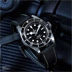 B & R Bands 22mm Black Sailcloth Watch Band Strap on a Tudor Black Bay Dive Watch Waterproof