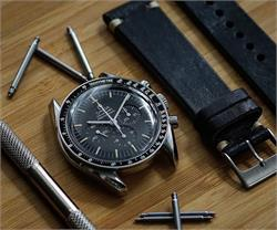 20mm Black Italian Vintage Leather Watch Band Strap with ecru stitching Omega Speedmaster Moon Watch