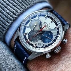 B & R Bands Navy Textured Calf Leather Watch Band Strap on a beautiful Zenith Chronograph watch