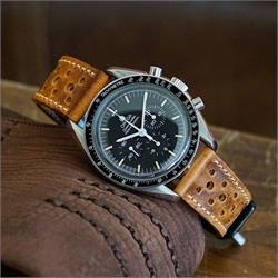 Vintage Leather Racing Watch Band Strap on a vintage Omega Speedmaster Rally Strap Band Malt Italian Leather