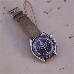 20mm Taupe Textured Calf Leather Watch Band Strap with a beautiful matching stitch on a Omega Speedmaster Professional