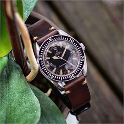 BandRBands 20mm Brown Horween Chromexcel Vintage Leather Watch Band Strap on a vintage omega seamaster 300 watch