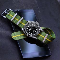 Tudor Black Bay Black on a B & R Bands 22mm Marine Nationale Nylon Seat Belt Nato Watch Band Strap