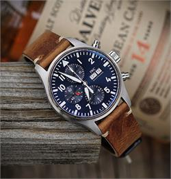 Strap for IWC 3777 pilot watch with a 21mm lug width made from a stunning Tan Italian Vintage Leather