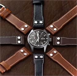 B & R Bands IWC Pilot Rivet Watch Band Strap Collection made from Horween leather with contrast white stitching IWC Mark 3777 Big Pilot
