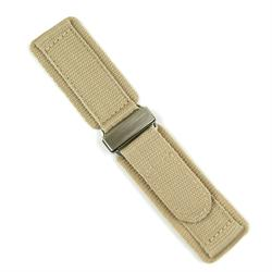 22mm Nylon Velcro Watch Band in Khaki Sand with a stainless steel buckle