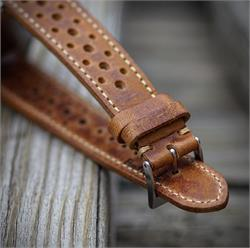19mm Vintage Racing Rally Watch Strap Band made from vintage Malt Italian Leather with a creamy classic stitch