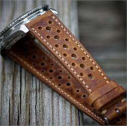 18mm Perforated Racing Rallye Watch Strap Band made from vintage Malt Italian Leather with a creamy classic stitch
