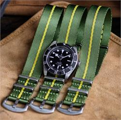 BandRBands 22mm Marine Nationale Nylon Seat Belt Nato Watch Straps Bands on the Tudor Black Bay Black dive watch