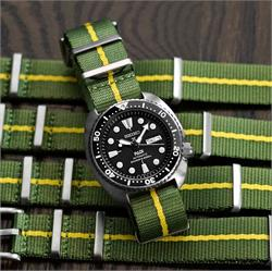 BandRBands Nylon Nato Seat Belt Watch Strap Band on a Seiko SRP Turtle dive watch in military green with a yellow stripe