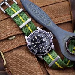B & R Bands 20mm Marine Nationale Nylon Seat Belt Nato Watch Strap Band on a vintage Rolex Submariner 1680 dive watch