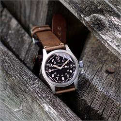 20mm Natural Horween Chromexcel C;assic Vintage Leather Watch Band Strap on a Hamilton Khaki Field Military Watch