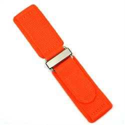22mm orange nylon velcro watch band with a stainless steel buckle