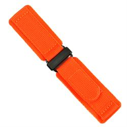 22mm nylon velcro watch band in orange with a carbon buckle