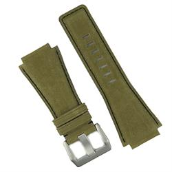 Bell & Ross Leather Watch Strap Band in Olive Suede Leather designed in a classic style BandRBands