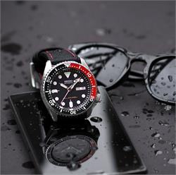 BandRBands 22mm Black Waterproof Watch Band Strap with red stitching on a Seiko Dive Watch