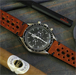 20mm Vintage Rally Racing Watch Strap Band on a Omega Speedmaster moonwatch BandRBands