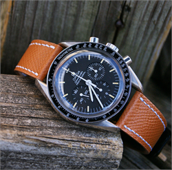 BandRBands 20mm Tan Hermes Watch Strap Band on the Omega Speedmaster watch