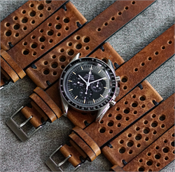 20mm Classic Vintage Racing Rally Watch Band Strap Oak Italian Vintage Leather Omega Speedmaster Watch