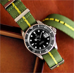 Tudor Submariner Dive Watch on a 20mm Marine Nationale Nylon Nato Watch Strap Band