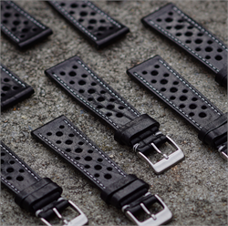 B & R Bands 18mm Black Le Mans Racing Strap Band Collection made from Italian leather and comes with a brushed stainless steel buckle