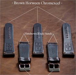 18mm Brown Vintage Horween Chromexcel Leather Watch Bands Straps with a stainless steel buckle and handsewn khaki stitch