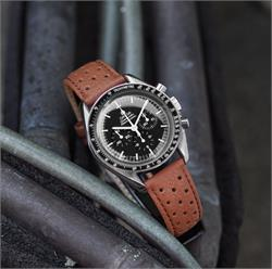 B & R Bands 20mm Tan Grand Prix Racing Watch Strap Band on the Omega Speedmaster Moonwatch