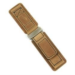 24mm Tan Crazy Horse Leather Watch Strap Band with black stitching and a stainless steel buckle