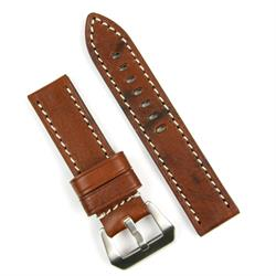 Panerai Watch Band Strap made from vintage wood Leather with White Stitching